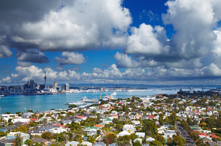 Auckland is largest city of New Zealand, view from Mount Victoria, Devonport