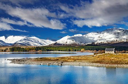 good shepherd: Lake Tekapo and Church of the Good Shepherd, New Zealand Stock Photo
