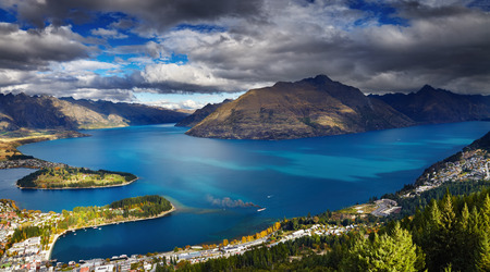 Queenstown cityscape with Wakatipu lake and Remarkables Mountains, New Zealand photo