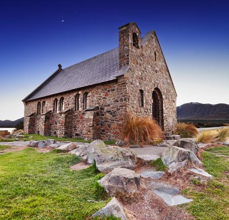 Church of the Good Shepherd at sunrise, Lake Tekapo, New Zealand photo