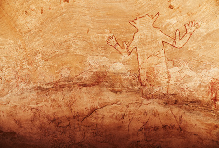 famous paintings: Famous Great God of Sefar one of oldest rock paintings in Sahara, Tassili N\