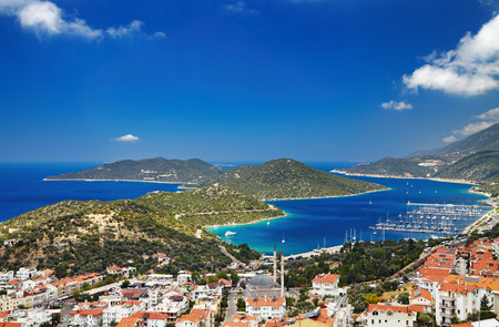 町 Kas は、地中海沿岸、トルコ 写真素材