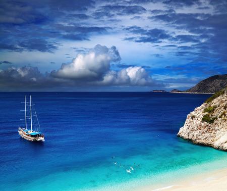 turquia: Playa Kaputas, Costa mediterr�nea de Turqu�a Foto de archivo