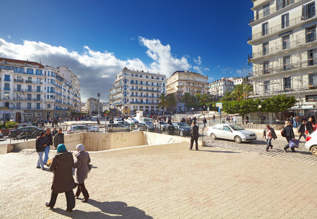 alger: ALGIERS, ALGERIA - NOV 21: Central street of Algiers city on november 21, 2010 in Algiers, Algeria. Algiers the capital city of Algeria the most largest country of the Maghreb States group