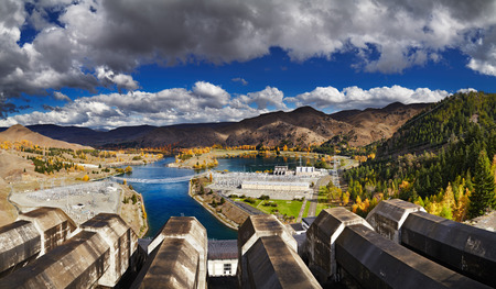 new technologies: Lake Benmore hydroelectric dam, New Zealand Stock Photo