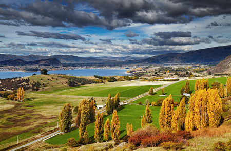 farmlands: Lake Wanaka, view from mount Roys, South Island,  New Zealand