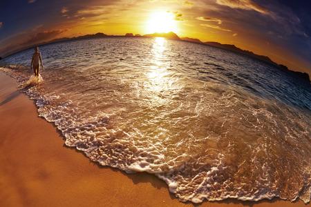 Tropical beach at sunset, El-Nido, Philippines, fisheye shot photo