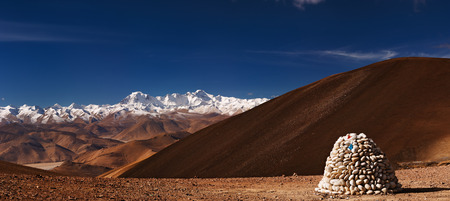 pyramid peak: Himalayas panorama with Cho Oyu mount, view from Tibet