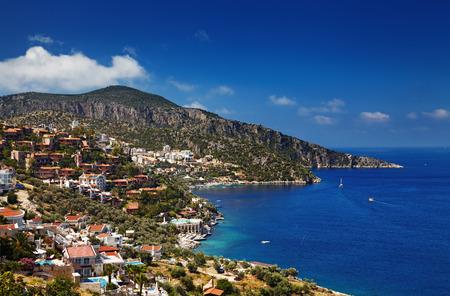 Town Kalkan, Mediterranean Coast, Turkey Standard-Bild