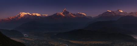 massif: Himalayan panorama, Annapurna massif, view from Sarangkot, Nepal Stock Photo