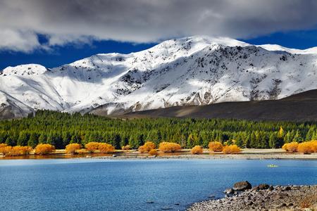 山の風景、テカポ湖、ニュージーランド 写真素材