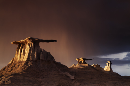 twilight: The Wings, bizarre rock formations in Bisti Badlands, New Mexico, USA