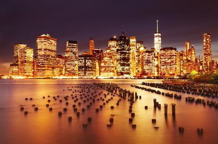 city by night: New York City, Lower Manhattan, view from Brooklyn Bridge Park