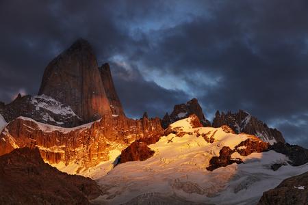fitz: Mount Fitz Roy at sunrise, Patagonia, Argentina Stock Photo