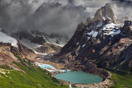 fitzroy: Mount Fitz Roy and laguna Torre, Los Glaciares National Park, Patagonia, Argentina Stock Photo