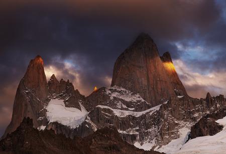 fitzroy: Mount Fitz Roy at sunrise, Patagonia, Argentina Stock Photo