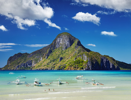 palawan: El Nido bay and Cadlao island, Palawan, Philippines Stock Photo
