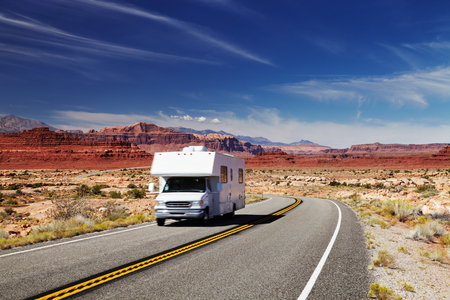 Traveling by motorhome, American Southwest, Utah Stock Photo