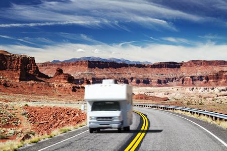 Traveling by motorhome, American Southwest, Utah Stock Photo