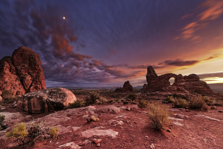 arches national park: Turret Arch at sunset, Arches National Park, Utah, USA Stock Photo