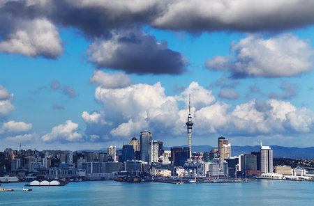Auckland is largest city of New Zealand, view from Mount Victoria, Devonport Stok Fotoğraf