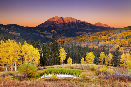 East Beckwith Mountain at sunrise near Kebler Pass in West Elk Mountains, Colorado, USA