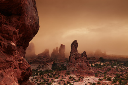 Foggy morning in Arches National Park, Utah, USA