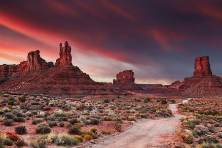 Valley of the Gods at sunset, Utah, USA