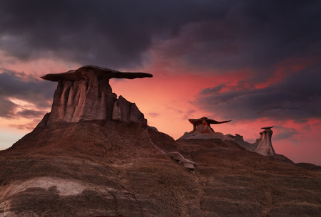 Stone Wings, bizarre rock formations in Bisti Badlands, New Mexico, USA