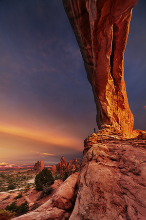 North Window Arch at sunset, Arches National Park, Utah, USA