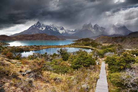 Torres del Paine National Park, Lake Pehoe and Cuernos mountains, Patagonia, Chile Stok Fotoğraf