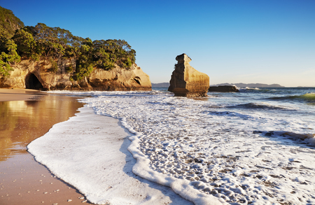 Smiling Sphinx rock near Cathedral Cove, Coromandel Peninsula, New Zealand