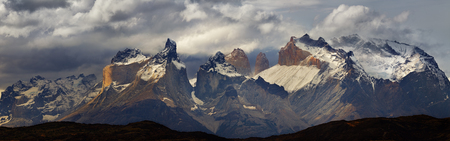Mountain panorama, Torres del Paine national park, Patagonia, Chile Stok Fotoğraf