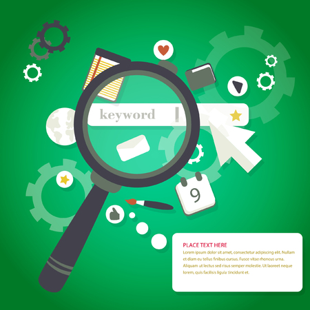 Magnifying glass keyword search engine optimization icons concept Illustration