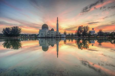 Mosque of Selangor, Malaysia - moment sunrise photo