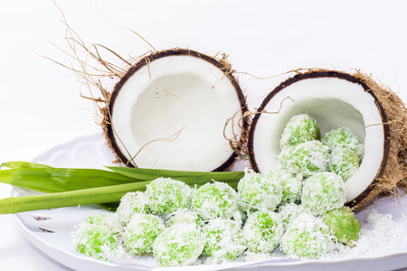 malay food: Malaysia traditional food with white background, this name is Ondeh - Ondeh Stock Photo