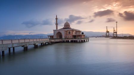 Sunset at the Floating Mosque, Penang Port, Seberang Perai, Malaysia.