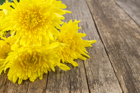 yellow flowers on the wooden table Stock Photo