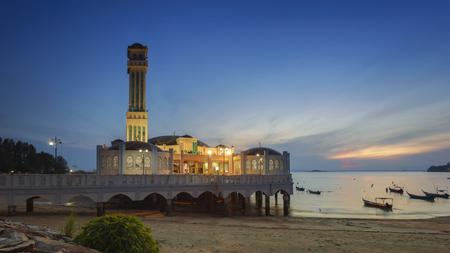 Tanjung Bungah Floating of mosque in Penang, Malaysia Stock Photo