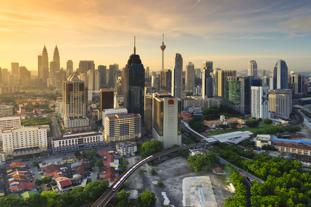 Kuala Lumpur-stad tijdens Zonsopgang met selectieve nadruk