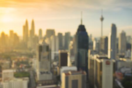 Blurred Image of Kuala Lumpur City at Sunrise for background usage