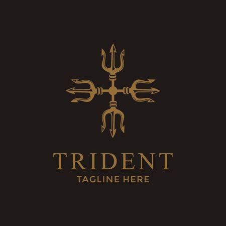 Diseño de logotipo de lujo Trident Neptune God Poseidon Triton King Spear