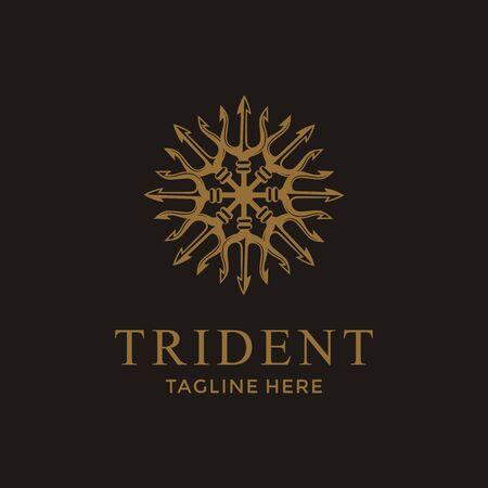 Luxus Trident Neptun God Poseidon Triton King Spear Logo-Design