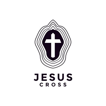 jesus cross for church with line art logo design Ilustração
