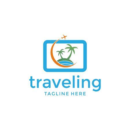 simple summer travel logo icon vector template Logó