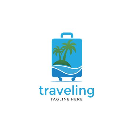 Logotipo de viaje de verano simple con plantilla de vector de icono de cobre
