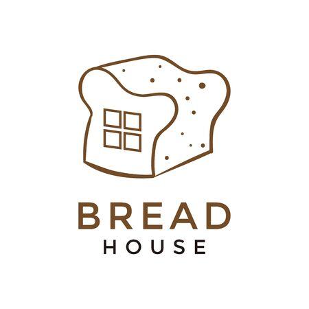 bread house with line art logo design vector