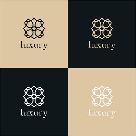 Diseño abstracto del vector del icono del logotipo de la flor de la hoja del árbol. Símbolo premium creativo universal. Elegante signo de vector de boutique de joya.