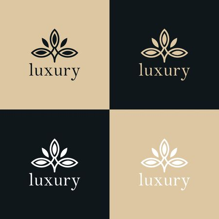 Abstract tree leaf flower logo icon vector design. Universal creative premium symbol. Graceful jewel boutique vector sign.