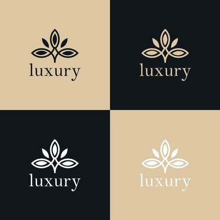 Disegno astratto di vettore dell'icona di logo del fiore della foglia dell'albero. Simbolo premium creativo universale. Segno di vettore grazioso gioiello boutique.